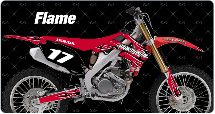 flame motocross decals for honda
