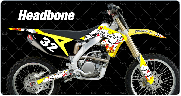 Motocross grpahics headbone style dirtbike graphics kit for suzuki.  Pair our headbone motocross graphics with our premade motocross number kits.