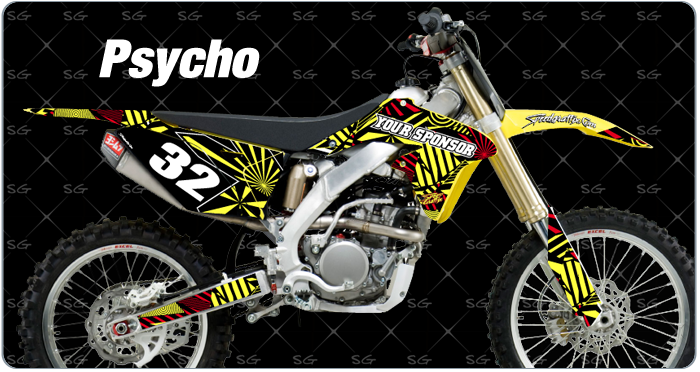psycho suzuki motocross graphics kit pre made for your suzuki dirt bike