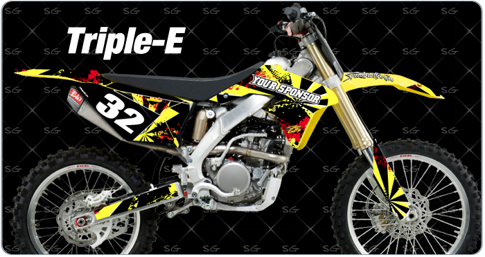 triple-e motocross graphics pre made for your suzuki dirt bike. Pair your triple-e motocross decals with our triple-e motocross numbers